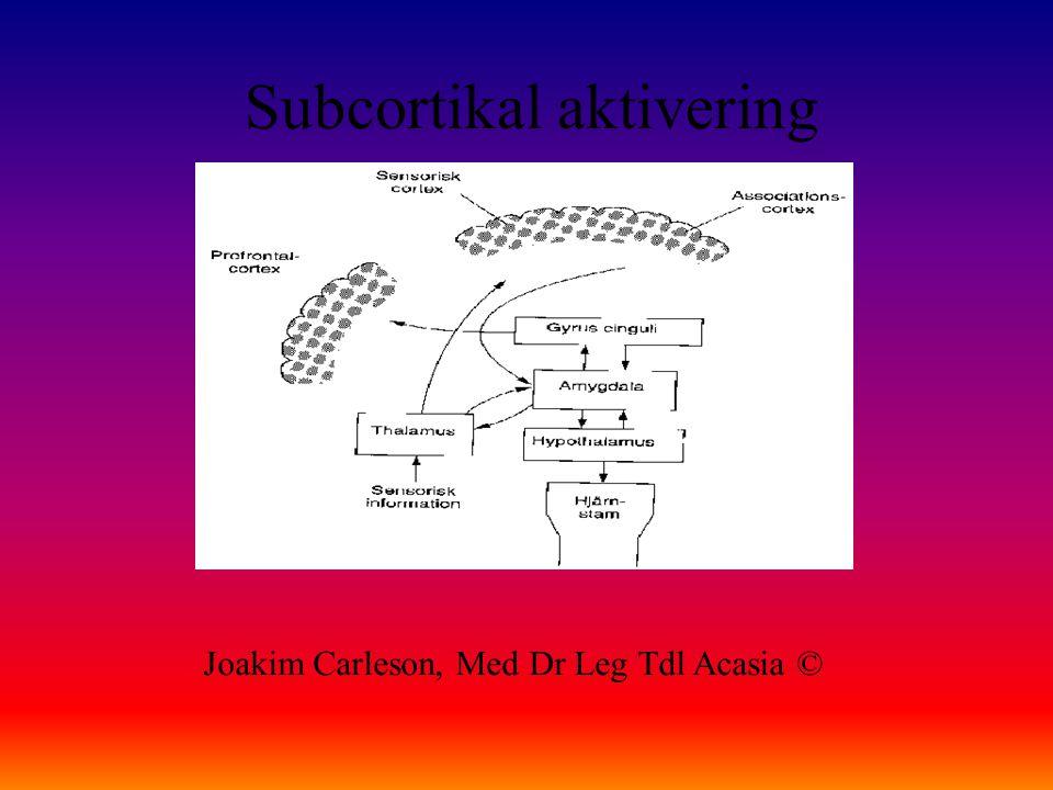 Subcortikal aktivering Joakim Carleson, Med Dr Leg Tdl Acasia ©