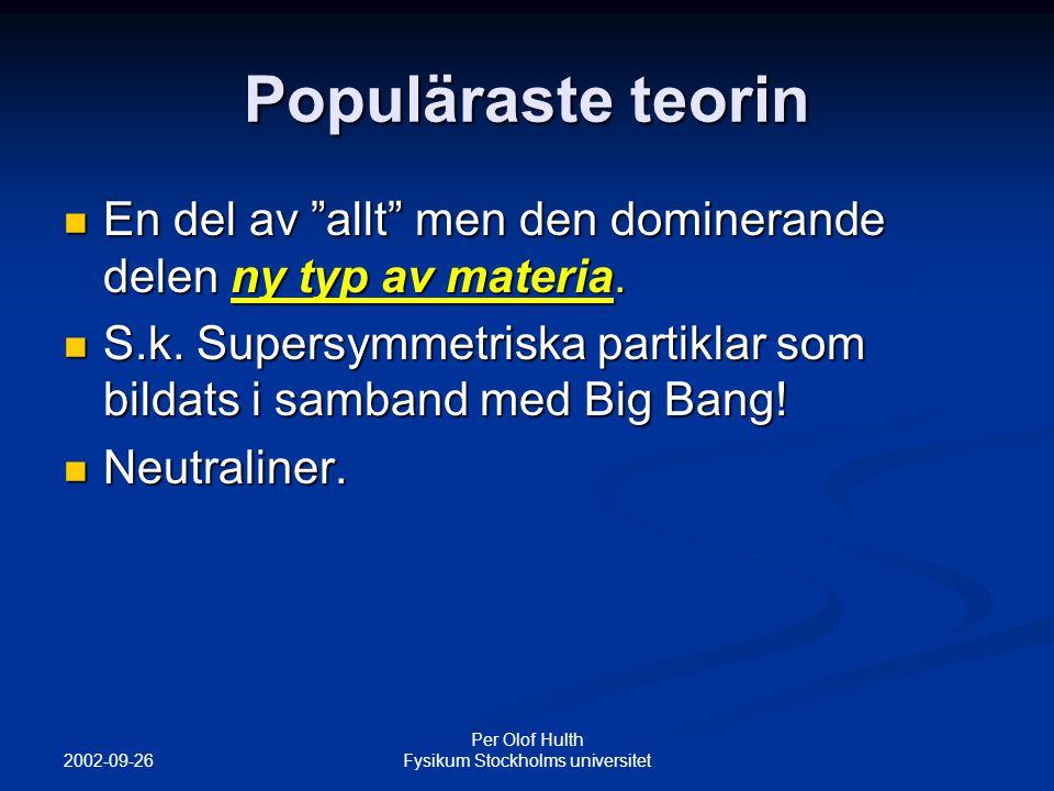 2002-09-26 Per Olof Hulth Fysikum Stockholms universitet Populäraste teorin En del av allt men den dominerande delen ny typ av materia.