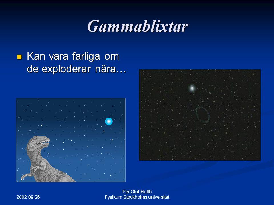 2002-09-26 Per Olof Hulth Fysikum Stockholms universitet Gammablixtar Kan vara farliga om de exploderar nära… Kan vara farliga om de exploderar nära…