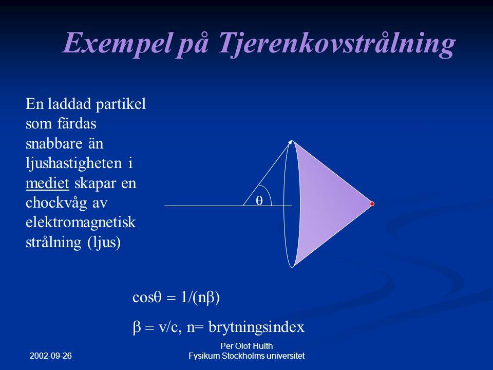 2002-09-26 Per Olof Hulth Fysikum Stockholms universitet  n laddad partikel som färdas snabbare än ljushastigheten i mediet skapar en chockvåg av elektromagnetisk strålning (ljus) cos  n   v/c, n= brytningsindex  Exempel på Tjerenkovstrålning