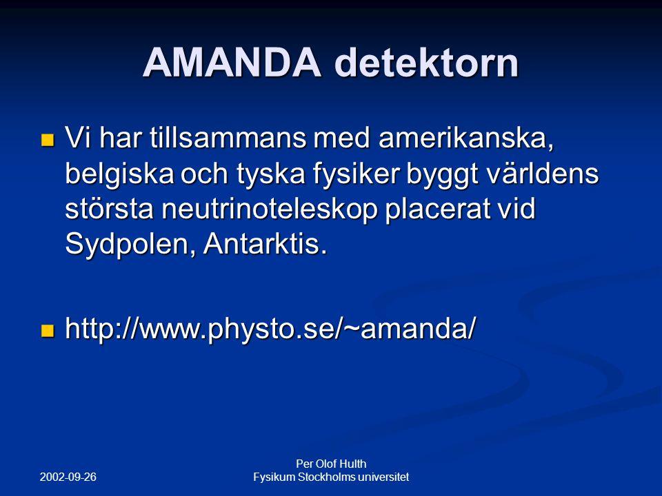 2002-09-26 Per Olof Hulth Fysikum Stockholms universitet AMANDA detektorn Vi har tillsammans med amerikanska, belgiska och tyska fysiker byggt världens största neutrinoteleskop placerat vid Sydpolen, Antarktis.