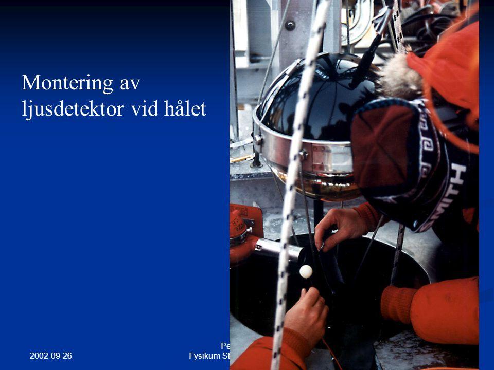 2002-09-26 Per Olof Hulth Fysikum Stockholms universitet Montering av ljusdetektor vid hålet