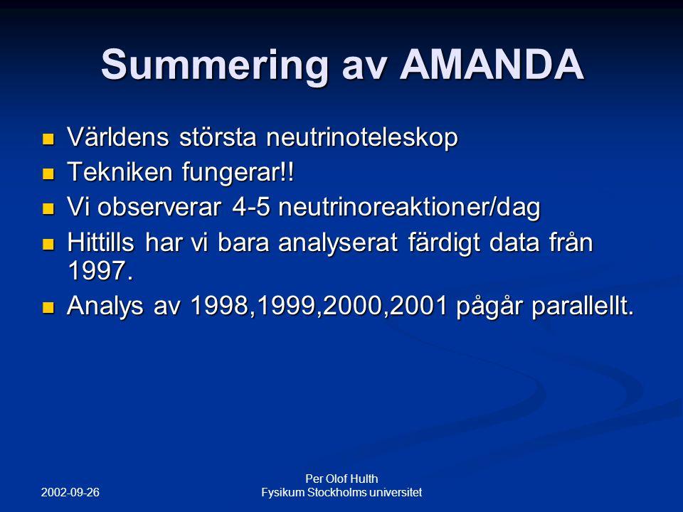 2002-09-26 Per Olof Hulth Fysikum Stockholms universitet Summering av AMANDA Världens största neutrinoteleskop Världens största neutrinoteleskop Tekniken fungerar!.