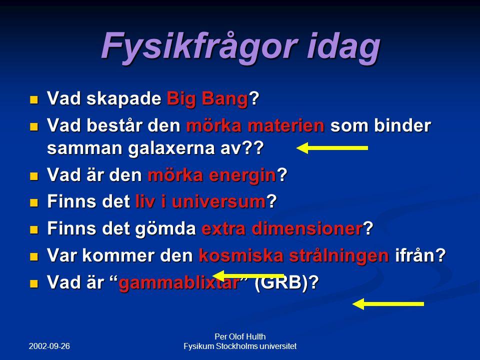 2002-09-26 Per Olof Hulth Fysikum Stockholms universitet Kort sammanfattning av neutrinofysik Det finns tre olika familjer av leptoner Det finns tre olika familjer av leptoner Elektronneutrino ( e ) och electronen (e - ) Elektronneutrino ( e ) och electronen (e - ) Myonneutrino (  ) och myonen    Myonneutrino (  ) och myonen    Tauneutrino (  ) och tauonen    Tauneutrino (  ) och tauonen    Neutrinerna kan passera enorma mängder materia utan att stoppas Neutrinerna kan passera enorma mängder materia utan att stoppas Tex kan en 1 MeV elektronneutrino passera 20 ljusår av solit bly innan den stoppas!!!!!!!!.