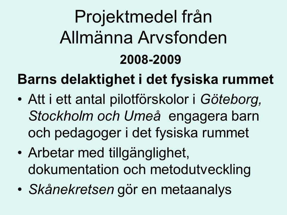 Projektmedel från Allmänna Arvsfonden 2008-2009 Barns delaktighet i det fysiska rummet Att i ett antal pilotförskolor i Göteborg, Stockholm och Umeå engagera barn och pedagoger i det fysiska rummet Arbetar med tillgänglighet, dokumentation och metodutveckling Skånekretsen gör en metaanalys
