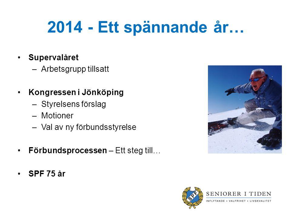 2014 - Ett spännande år… Supervalåret –Arbetsgrupp tillsatt Kongressen i Jönköping –Styrelsens förslag –Motioner –Val av ny förbundsstyrelse Förbundsprocessen – Ett steg till… SPF 75 år