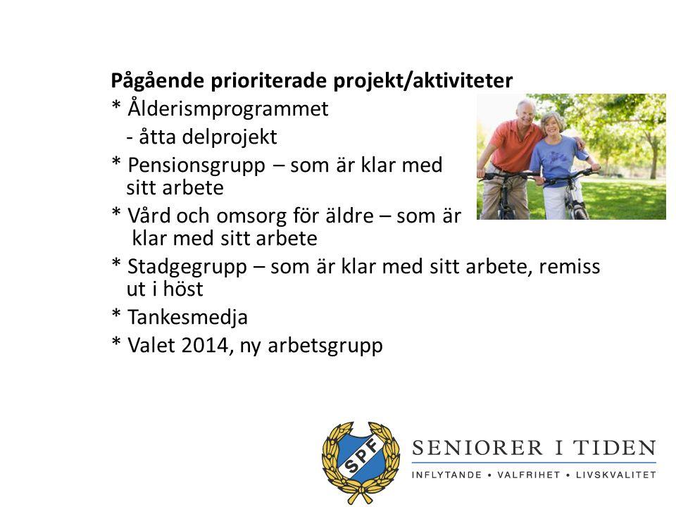 Pågående prioriterade projekt/aktiviteter * Ålderismprogrammet - åtta delprojekt * Pensionsgrupp – som är klar med sitt arbete * Vård och omsorg för äldre – som är klar med sitt arbete * Stadgegrupp – som är klar med sitt arbete, remiss ut i höst * Tankesmedja * Valet 2014, ny arbetsgrupp
