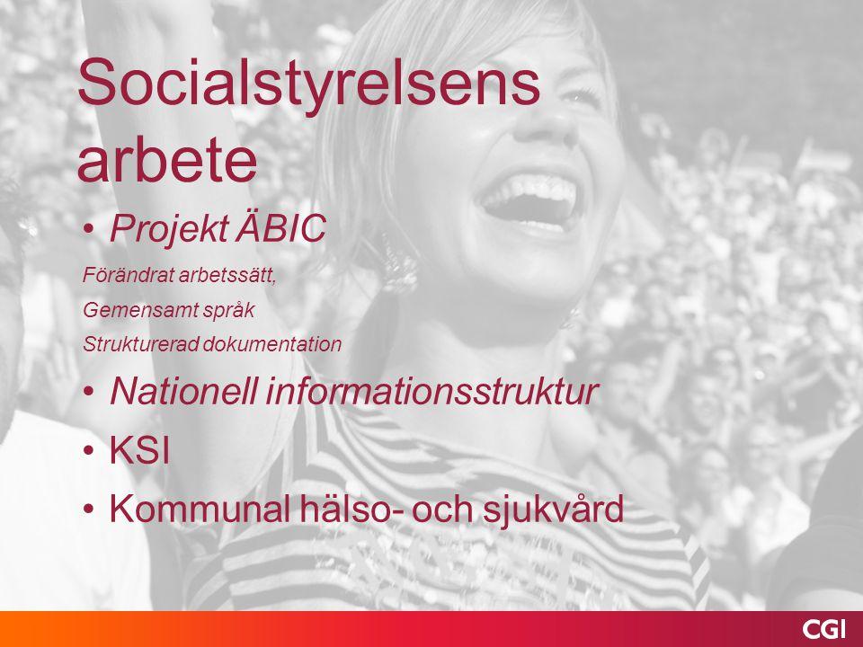 Socialstyrelsens arbete Projekt ÄBIC Förändrat arbetssätt, Gemensamt språk Strukturerad dokumentation Nationell informationsstruktur KSI Kommunal häls