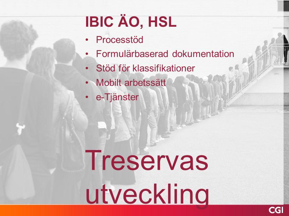 Treservas utveckling IBIC ÄO, HSL Processtöd Formulärbaserad dokumentation Stöd för klassifikationer Mobilt arbetssätt e-Tjänster