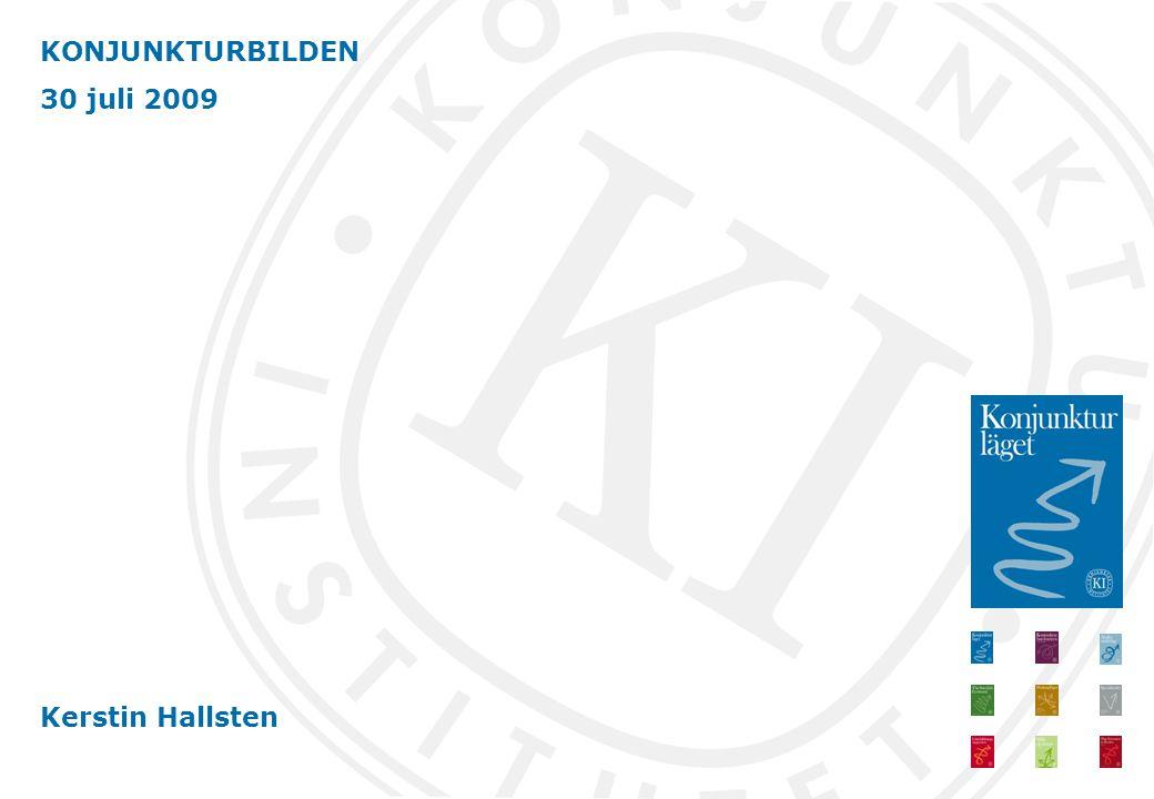 Konjunkturbilden i stort oförändrad Ny information visar att BNP-fallet i Sverige bromsar upp – mindre pessimistiska företag och hushåll – konsumtionen stiger och exporten planar ut Djup lågkonjunktur 2009-2011 Arbetslösheten ökar snabbt till 2011 Expansiv finanspolitik En risk; nya influensan