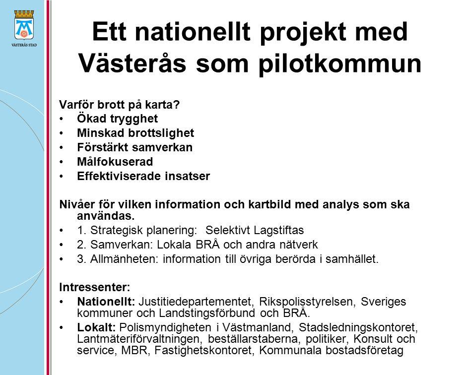 Ett nationellt projekt med Västerås som pilotkommun Varför brott på karta? Ökad trygghet Minskad brottslighet Förstärkt samverkan Målfokuserad Effekti