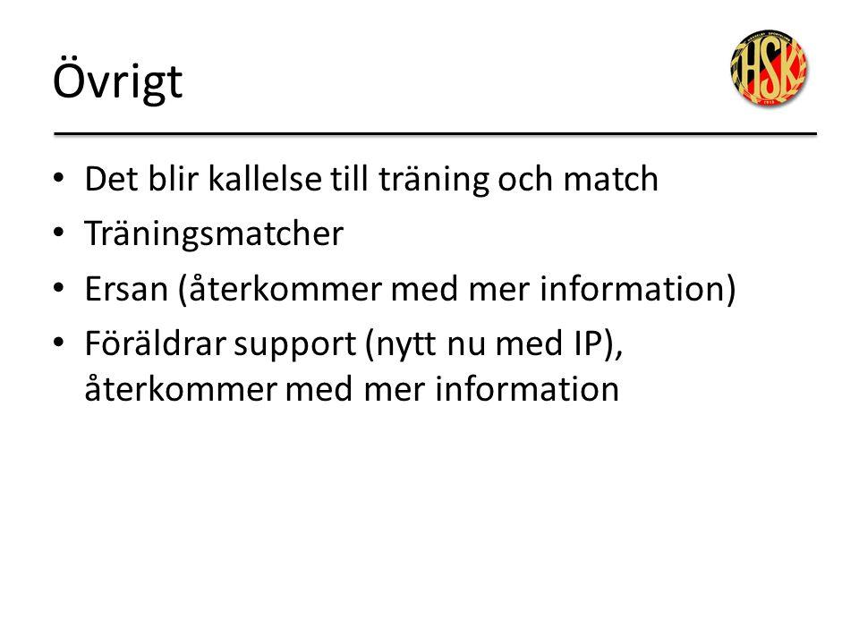 Övrigt Det blir kallelse till träning och match Träningsmatcher Ersan (återkommer med mer information) Föräldrar support (nytt nu med IP), återkommer
