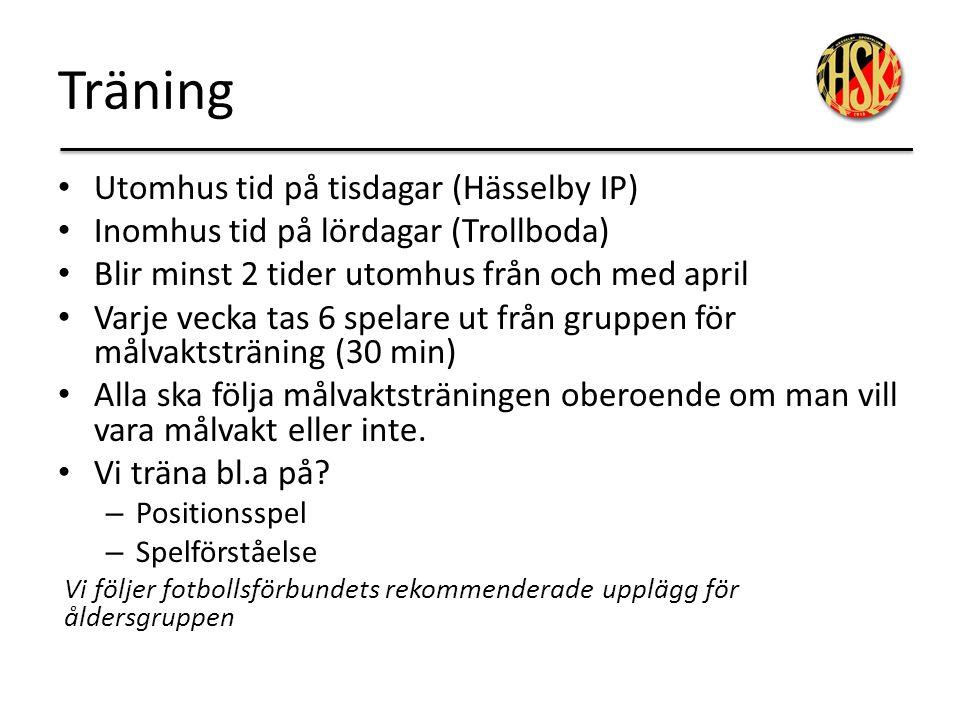 Träning Utomhus tid på tisdagar (Hässelby IP) Inomhus tid på lördagar (Trollboda) Blir minst 2 tider utomhus från och med april Varje vecka tas 6 spel