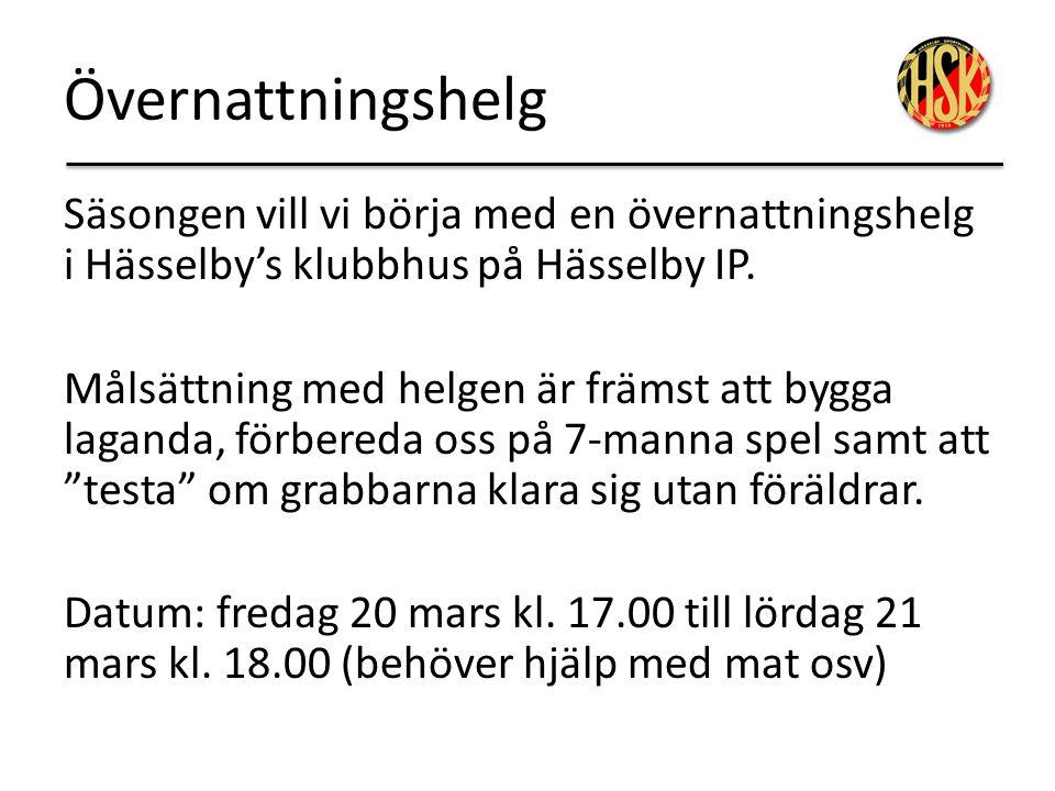 Övernattningshelg Säsongen vill vi börja med en övernattningshelg i Hässelby's klubbhus på Hässelby IP. Målsättning med helgen är främst att bygga lag