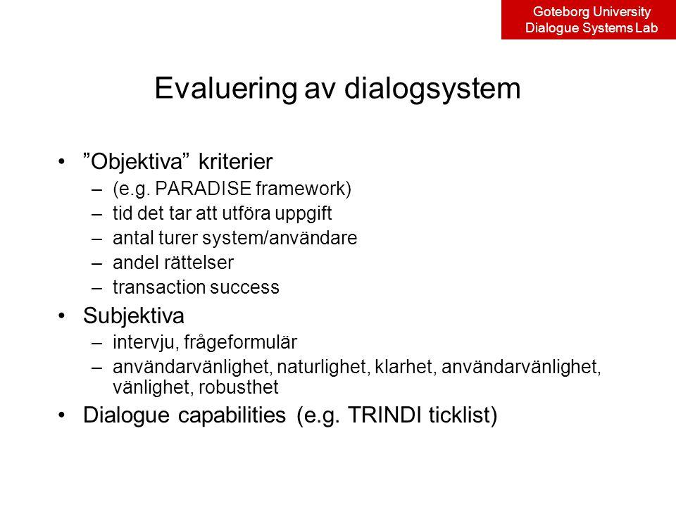 Goteborg University Dialogue Systems Lab Evaluering av dialogsystem Objektiva kriterier –(e.g.