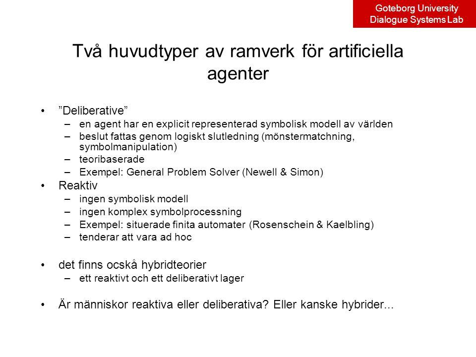 Goteborg University Dialogue Systems Lab Två huvudtyper av ramverk för artificiella agenter Deliberative –en agent har en explicit representerad symbolisk modell av världen –beslut fattas genom logiskt slutledning (mönstermatchning, symbolmanipulation) –teoribaserade –Exempel: General Problem Solver (Newell & Simon) Reaktiv –ingen symbolisk modell –ingen komplex symbolprocessning –Exempel: situerade finita automater (Rosenschein & Kaelbling) –tenderar att vara ad hoc det finns ocskå hybridteorier –ett reaktivt och ett deliberativt lager Är människor reaktiva eller deliberativa.