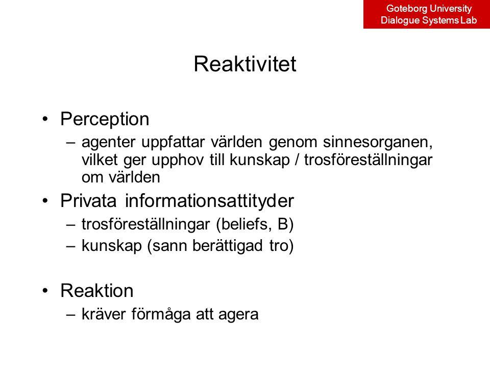 Goteborg University Dialogue Systems Lab Reaktivitet Perception –agenter uppfattar världen genom sinnesorganen, vilket ger upphov till kunskap / trosföreställningar om världen Privata informationsattityder –trosföreställningar (beliefs, B) –kunskap (sann berättigad tro) Reaktion –kräver förmåga att agera