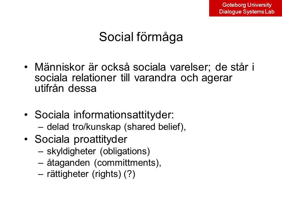 Goteborg University Dialogue Systems Lab Social förmåga Människor är också sociala varelser; de står i sociala relationer till varandra och agerar utifrån dessa Sociala informationsattityder: –delad tro/kunskap (shared belief), Sociala proattityder –skyldigheter (obligations) –åtaganden (committments), –rättigheter (rights) ( )