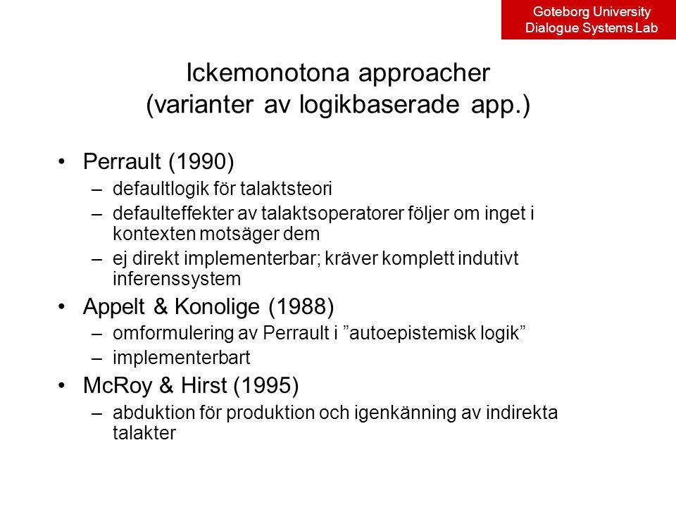 Goteborg University Dialogue Systems Lab Ickemonotona approacher (varianter av logikbaserade app.) Perrault (1990) –defaultlogik för talaktsteori –defaulteffekter av talaktsoperatorer följer om inget i kontexten motsäger dem –ej direkt implementerbar; kräver komplett indutivt inferenssystem Appelt & Konolige (1988) –omformulering av Perrault i autoepistemisk logik –implementerbart McRoy & Hirst (1995) –abduktion för produktion och igenkänning av indirekta talakter