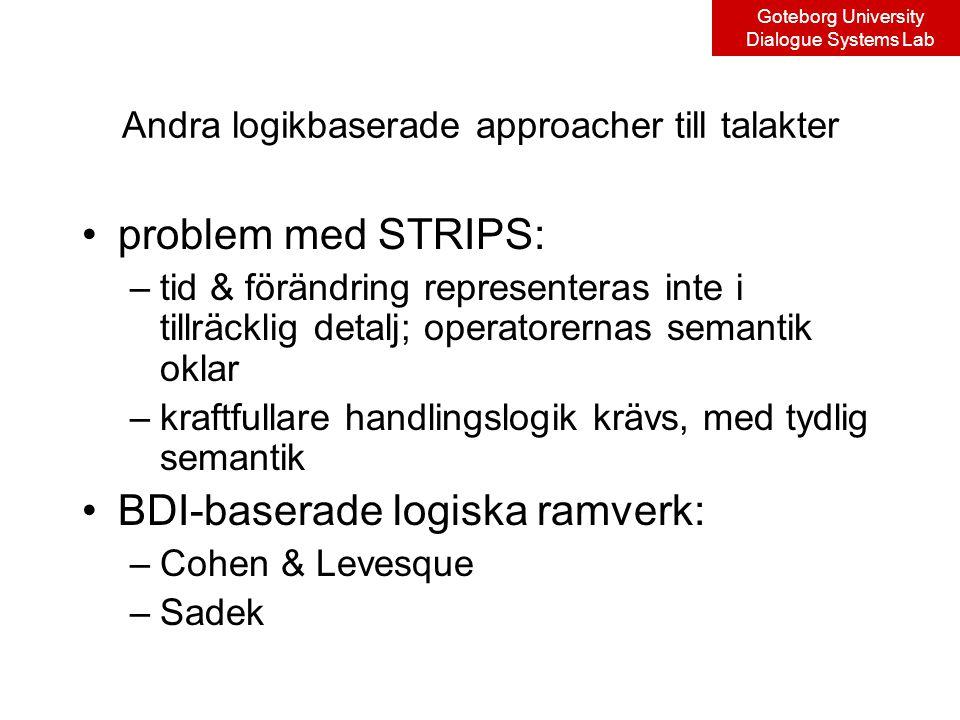 Goteborg University Dialogue Systems Lab Andra logikbaserade approacher till talakter problem med STRIPS: –tid & förändring representeras inte i tillräcklig detalj; operatorernas semantik oklar –kraftfullare handlingslogik krävs, med tydlig semantik BDI-baserade logiska ramverk: –Cohen & Levesque –Sadek