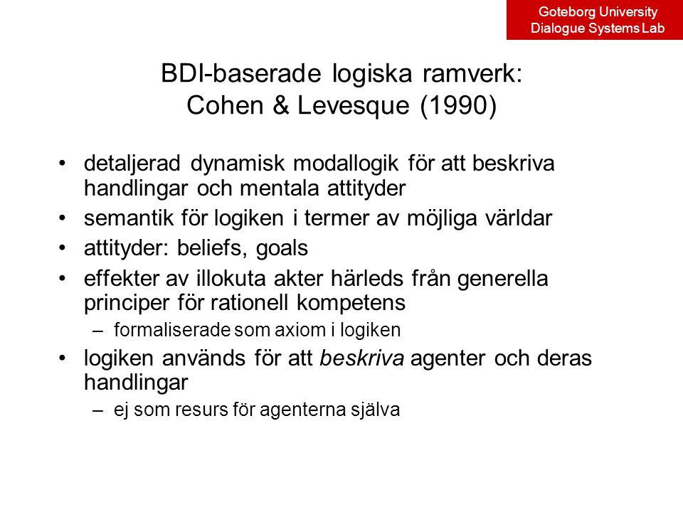 Goteborg University Dialogue Systems Lab BDI-baserade logiska ramverk: Cohen & Levesque (1990) detaljerad dynamisk modallogik för att beskriva handlingar och mentala attityder semantik för logiken i termer av möjliga världar attityder: beliefs, goals effekter av illokuta akter härleds från generella principer för rationell kompetens –formaliserade som axiom i logiken logiken används för att beskriva agenter och deras handlingar –ej som resurs för agenterna själva
