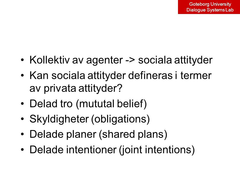 Goteborg University Dialogue Systems Lab Kollektiv av agenter -> sociala attityder Kan sociala attityder defineras i termer av privata attityder.