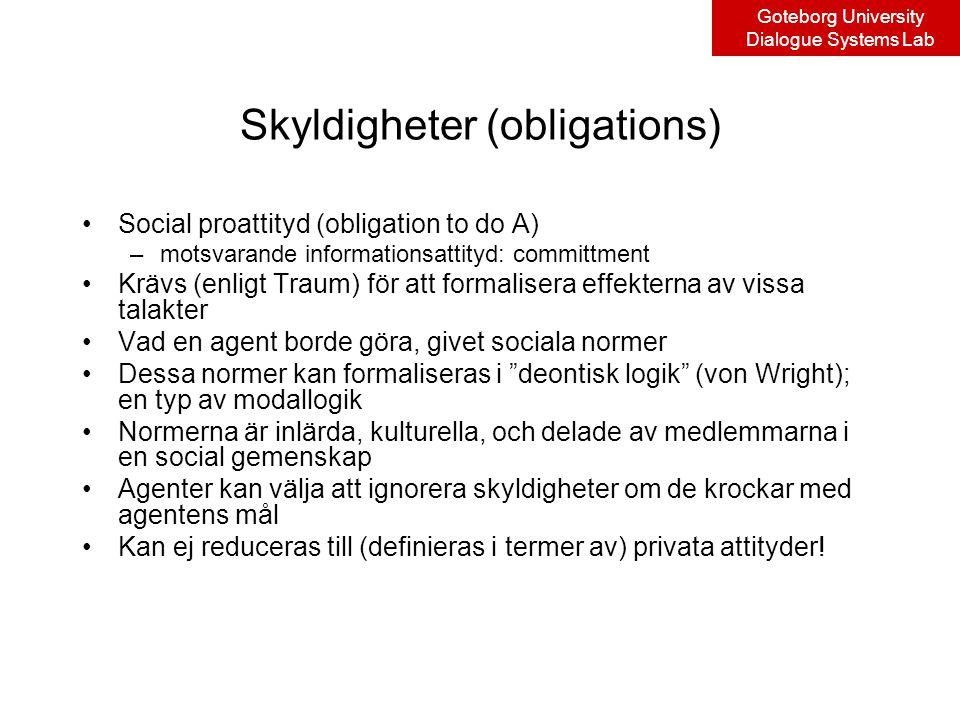Goteborg University Dialogue Systems Lab Skyldigheter (obligations) Social proattityd (obligation to do A) –motsvarande informationsattityd: committment Krävs (enligt Traum) för att formalisera effekterna av vissa talakter Vad en agent borde göra, givet sociala normer Dessa normer kan formaliseras i deontisk logik (von Wright); en typ av modallogik Normerna är inlärda, kulturella, och delade av medlemmarna i en social gemenskap Agenter kan välja att ignorera skyldigheter om de krockar med agentens mål Kan ej reduceras till (definieras i termer av) privata attityder!