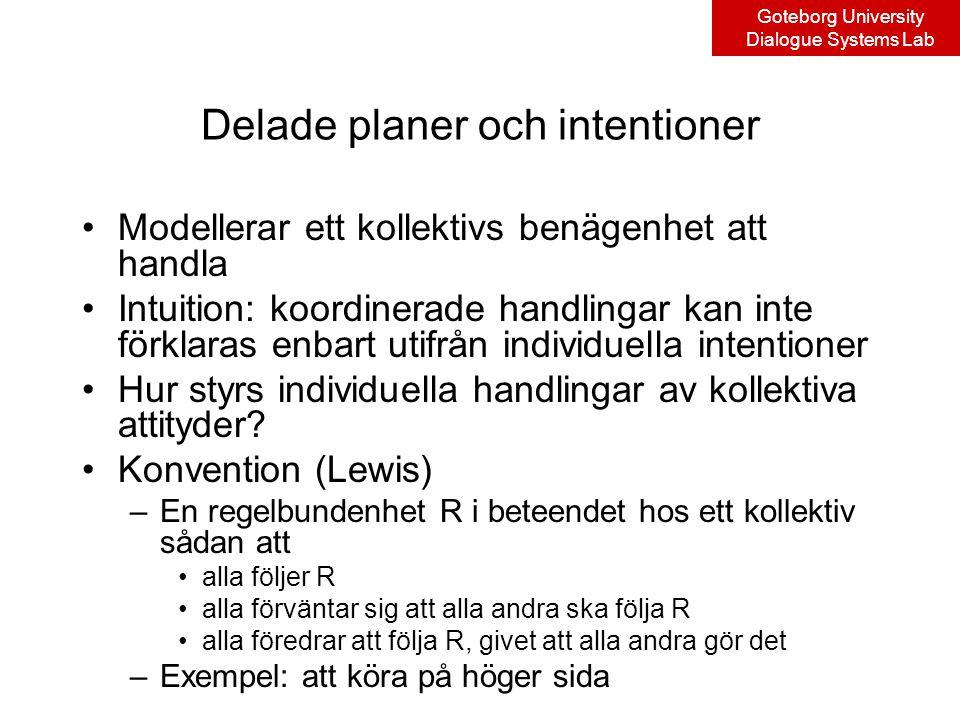Goteborg University Dialogue Systems Lab Delade planer och intentioner Modellerar ett kollektivs benägenhet att handla Intuition: koordinerade handlingar kan inte förklaras enbart utifrån individuella intentioner Hur styrs individuella handlingar av kollektiva attityder.