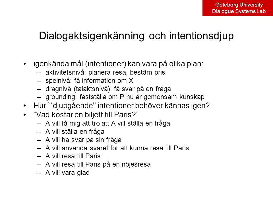 Goteborg University Dialogue Systems Lab Dialogaktsigenkänning och intentionsdjup igenkända mål (intentioner) kan vara på olika plan: –aktivitetsnivå: planera resa, bestäm pris –spelnivå: få information om X –dragnivå (talaktsnivå): få svar på en fråga –grounding: fastställa om P nu är gemensam kunskap Hur ``djupgående intentioner behöver kännas igen.