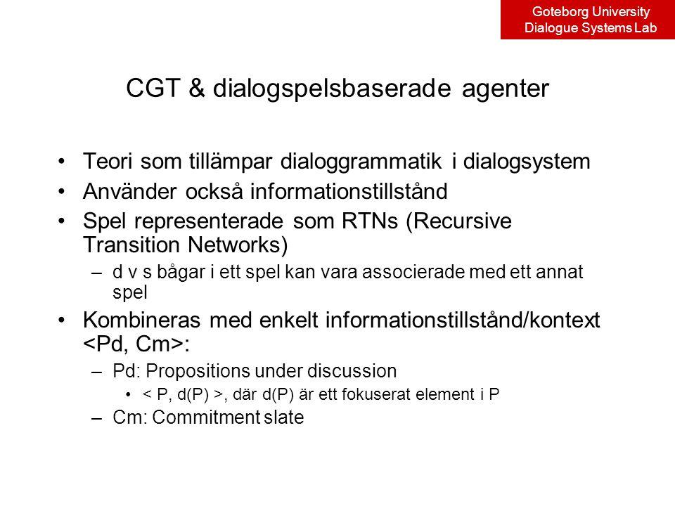 Goteborg University Dialogue Systems Lab CGT & dialogspelsbaserade agenter Teori som tillämpar dialoggrammatik i dialogsystem Använder också informationstillstånd Spel representerade som RTNs (Recursive Transition Networks) –d v s bågar i ett spel kan vara associerade med ett annat spel Kombineras med enkelt informationstillstånd/kontext : –Pd: Propositions under discussion, där d(P) är ett fokuserat element i P –Cm: Commitment slate