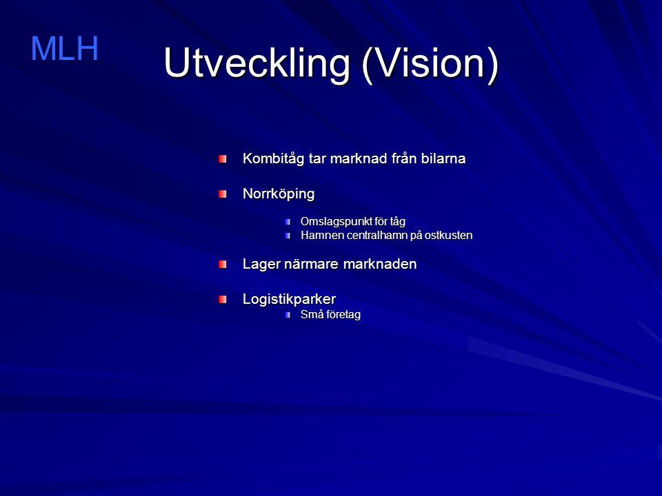 Utveckling (Vision) Kombitåg tar marknad från bilarna Norrköping Omslagspunkt för tåg Hamnen centralhamn på ostkusten Lager närmare marknaden Logistikparker Små företag MLH