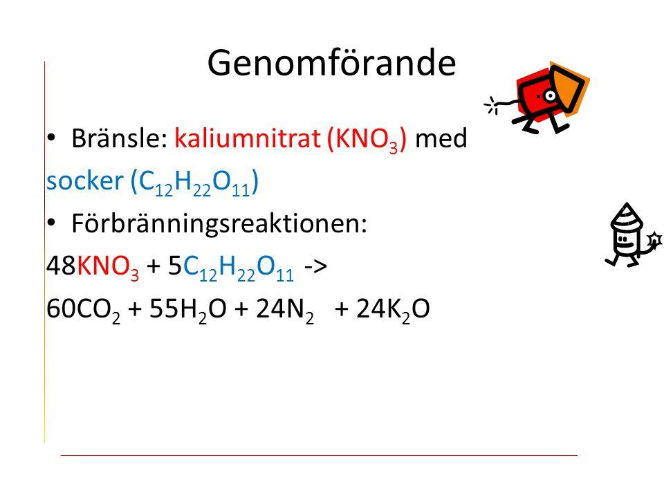 Bränsle: kaliumnitrat (KNO 3 ) med socker (C 12 H 22 O 11 ) Förbränningsreaktionen: 48KNO 3 + 5C 12 H 22 O 11 -> 60CO 2 + 55H 2 O + 24N 2 + 24K 2 O