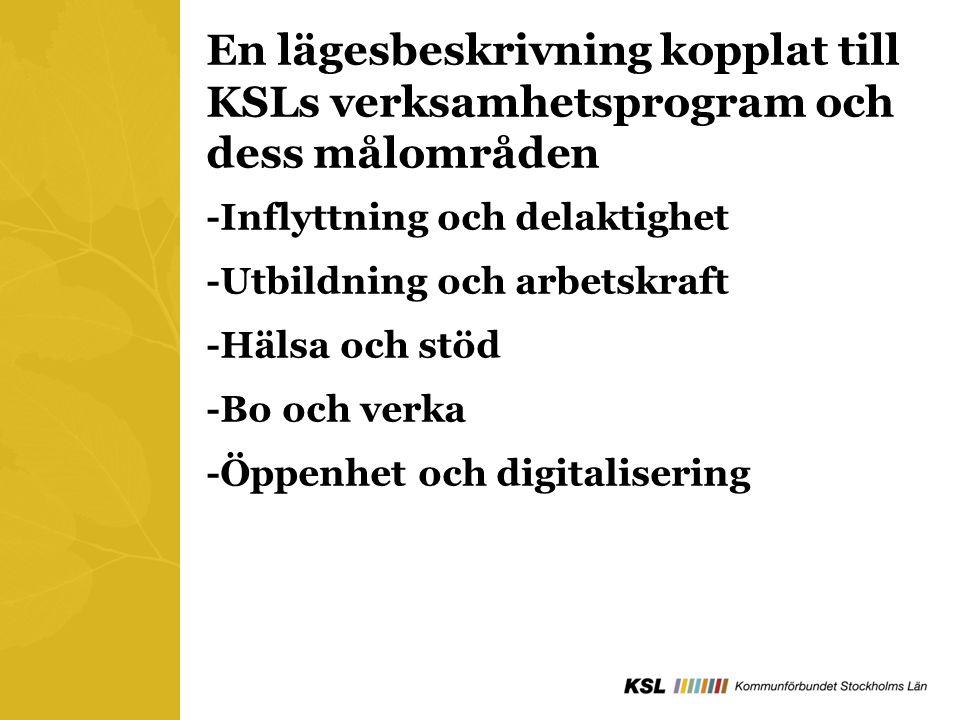 En lägesbeskrivning kopplat till KSLs verksamhetsprogram och dess målområden -Inflyttning och delaktighet -Utbildning och arbetskraft -Hälsa och stöd -Bo och verka -Öppenhet och digitalisering