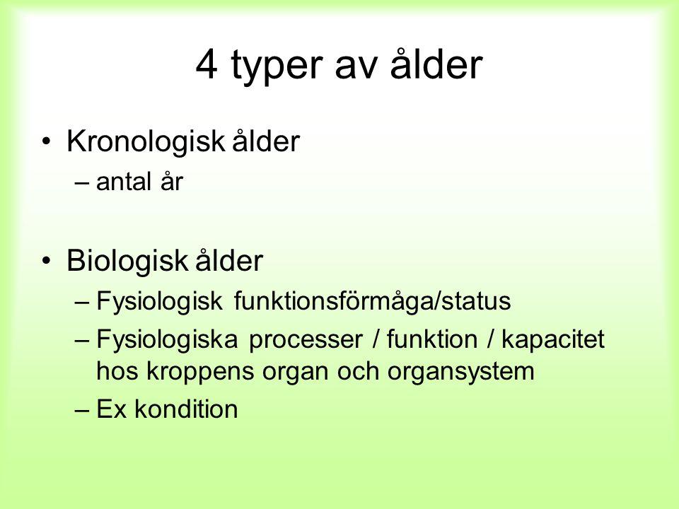 4 typer av ålder Kronologisk ålder –antal år Biologisk ålder –Fysiologisk funktionsförmåga/status –Fysiologiska processer / funktion / kapacitet hos k