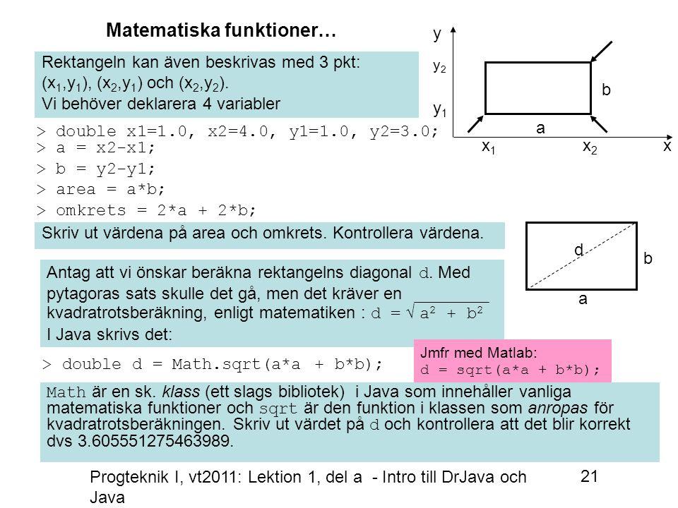 Progteknik I, vt2011: Lektion 1, del a - Intro till DrJava och Java 21 Rektangeln kan även beskrivas med 3 pkt: (x 1,y 1 ), (x 2,y 1 ) och (x 2,y 2 ).