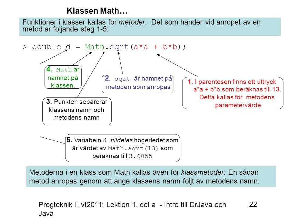 Progteknik I, vt2011: Lektion 1, del a - Intro till DrJava och Java 22 Klassen Math… > double d = Math.sqrt(a*a + b*b); Funktioner i klasser kallas för metoder.