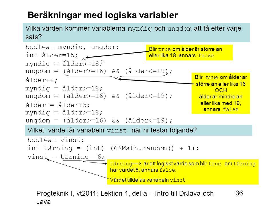 Progteknik I, vt2011: Lektion 1, del a - Intro till DrJava och Java 36 Beräkningar med logiska variabler Vilka värden kommer variablerna myndig och ungdom att få efter varje sats.