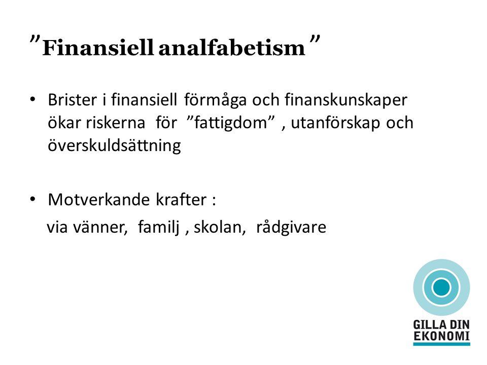 """"""" Finansiell analfabetism """" Brister i finansiell förmåga och finanskunskaper ökar riskerna för """"fattigdom"""", utanförskap och överskuldsättning Motverka"""