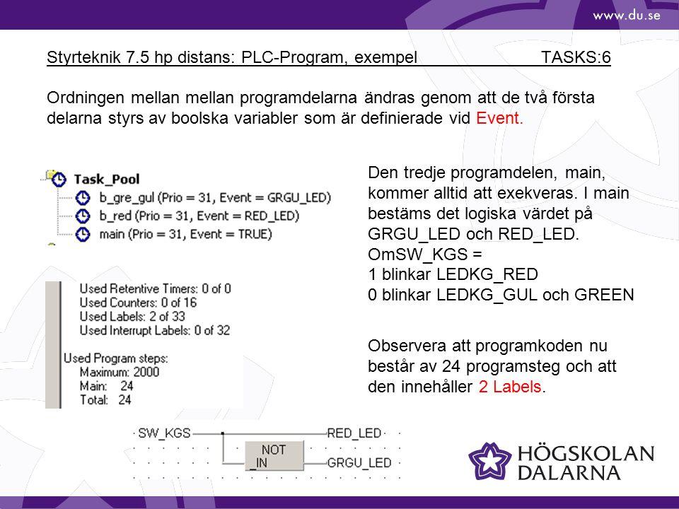 Styrteknik 7.5 hp distans: PLC-Program, exempel TASKS:7 Med Upload Project erhålles: Under första programvarvet är alla minnesceller nollställda.