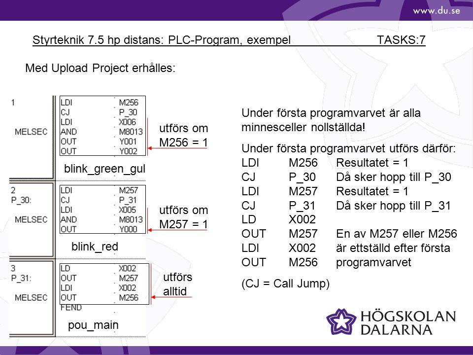 Styrteknik 7.5 hp distans: PLC-Program, exempel TASKS:7 Med Upload Project erhålles: Under första programvarvet är alla minnesceller nollställda! Unde