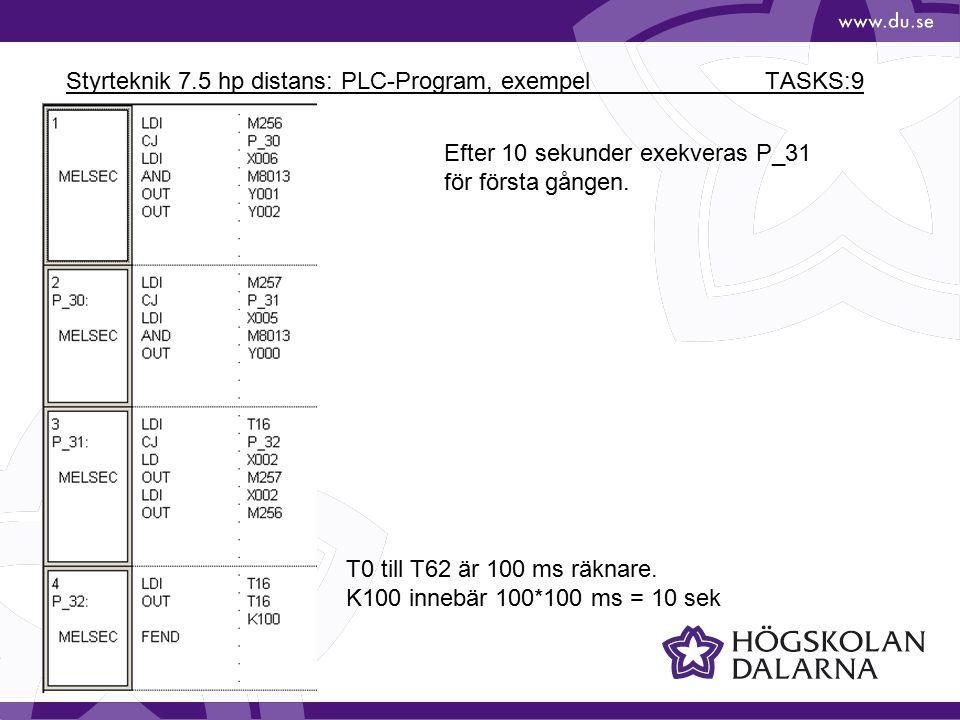 Styrteknik 7.5 hp distans: PLC-Program, exempel TASKS:9 T0 till T62 är 100 ms räknare. K100 innebär 100*100 ms = 10 sek Efter 10 sekunder exekveras P_