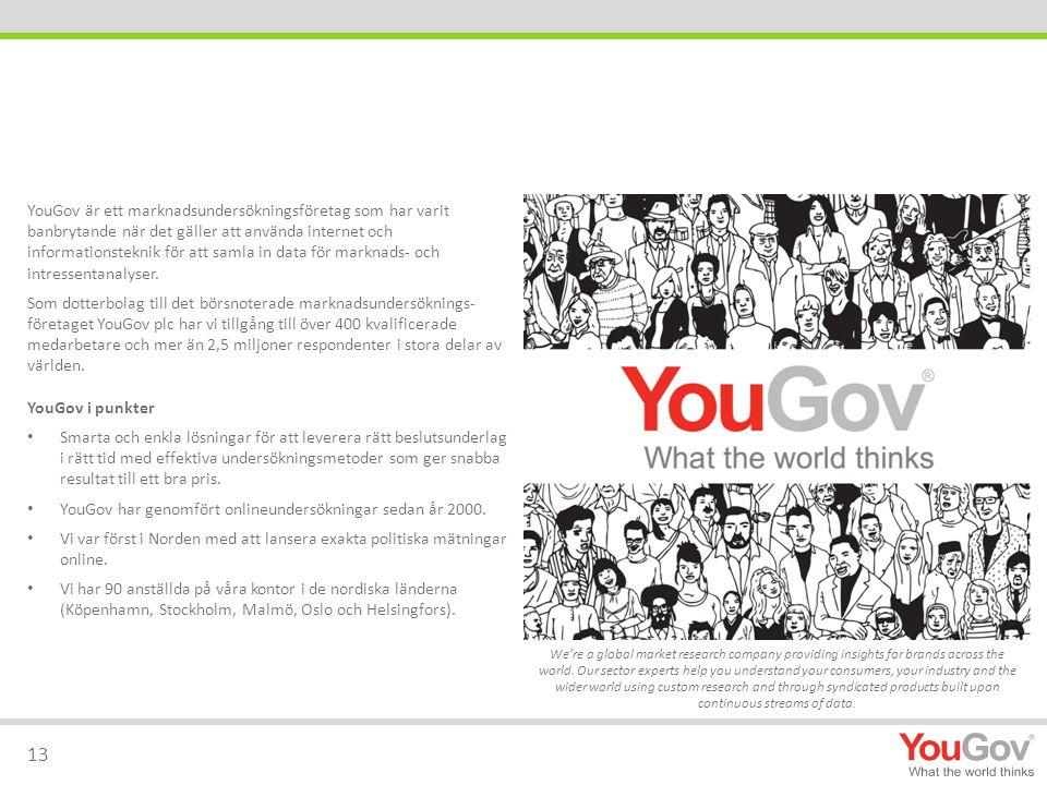 YouGov är ett marknadsundersökningsföretag som har varit banbrytande när det gäller att använda internet och informationsteknik för att samla in data för marknads- och intressentanalyser.