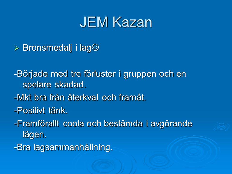 JEM Kazan  Bronsmedalj i lag  Bronsmedalj i lag -Började med tre förluster i gruppen och en spelare skadad.