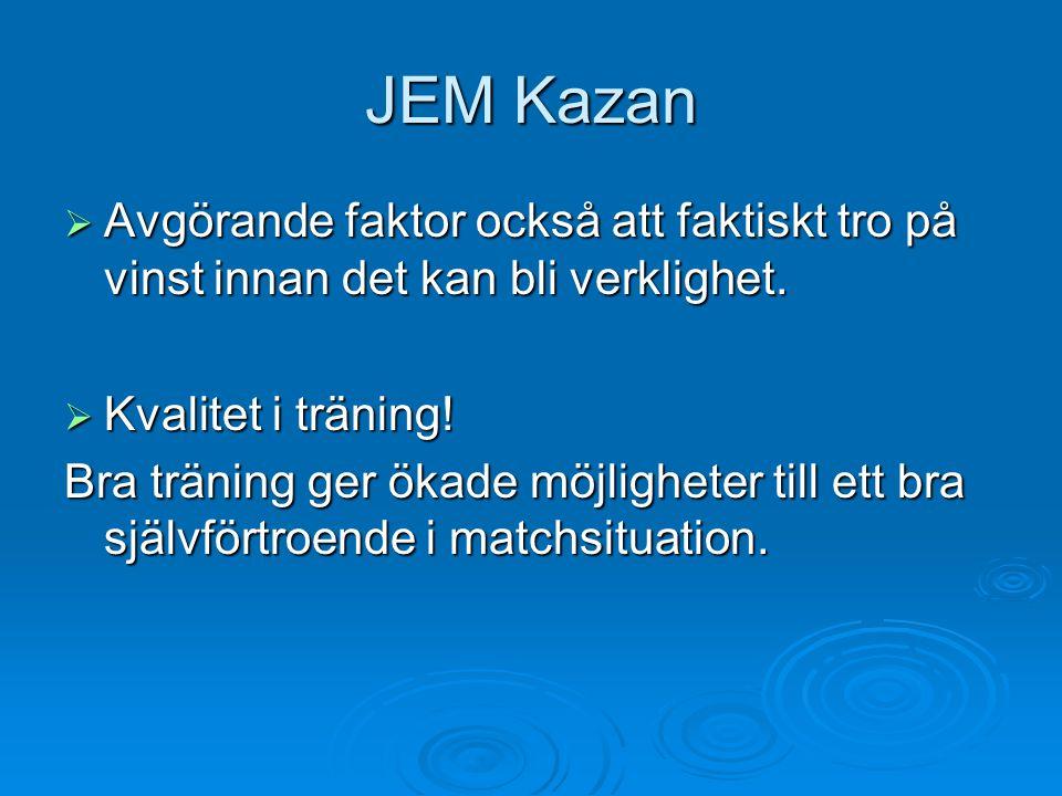 JEM Kazan  Avgörande faktor också att faktiskt tro på vinst innan det kan bli verklighet.