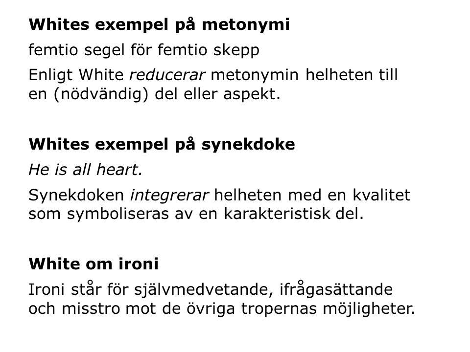 Whites exempel på metonymi femtio segel för femtio skepp Enligt White reducerar metonymin helheten till en (nödvändig) del eller aspekt.