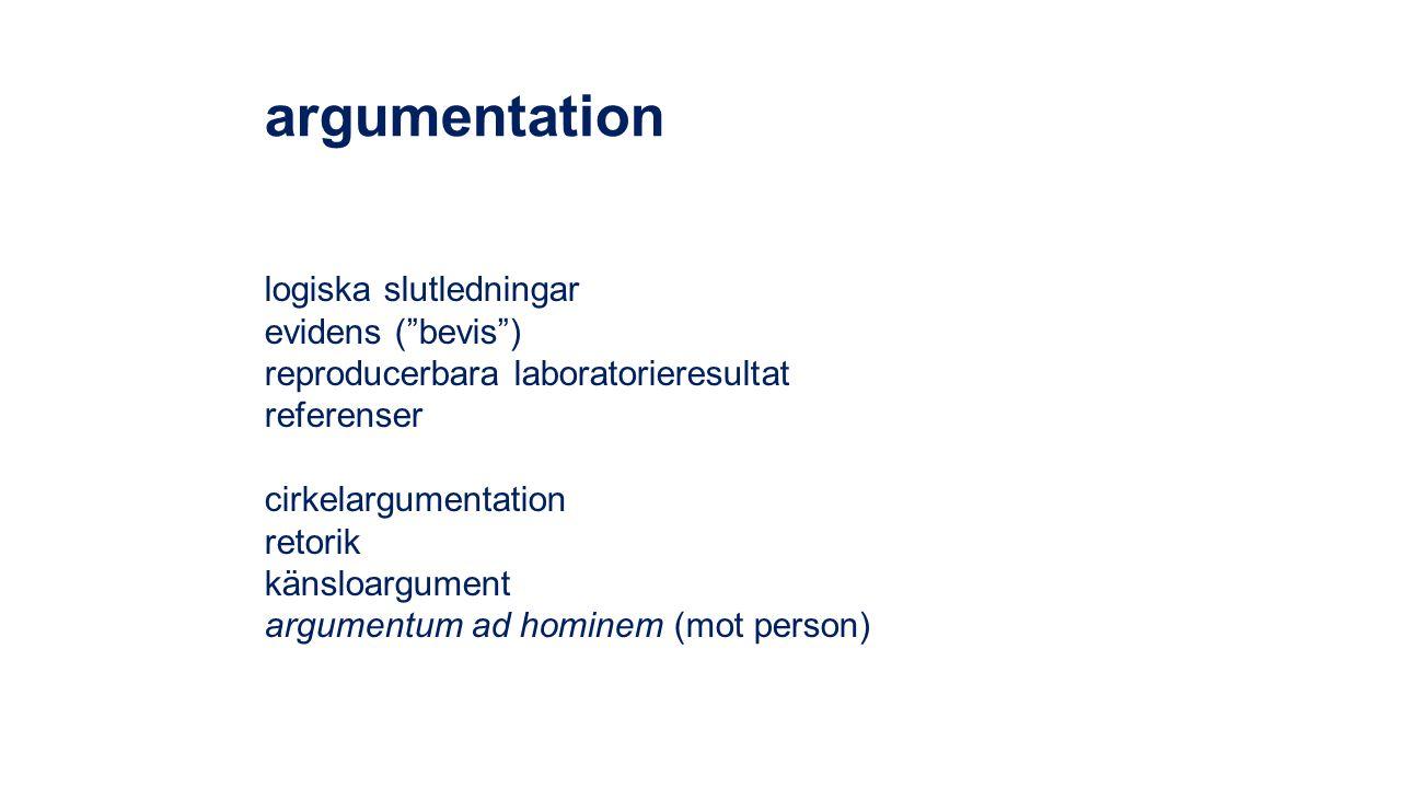 "argumentation logiska slutledningar evidens (""bevis"") reproducerbara laboratorieresultat referenser cirkelargumentation retorik känsloargument argumen"