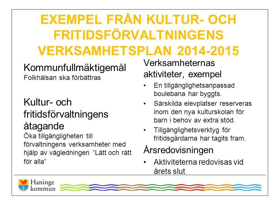 EXEMPEL FRÅN KULTUR- OCH FRITIDSFÖRVALTNINGENS VERKSAMHETSPLAN 2014-2015 Kommunfullmäktigemål Folkhälsan ska förbättras Kultur- och fritidsförvaltning