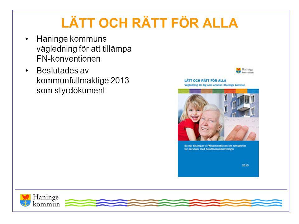 LÄTT OCH RÄTT FÖR ALLA Haninge kommuns vägledning för att tillämpa FN-konventionen Beslutades av kommunfullmäktige 2013 som styrdokument.