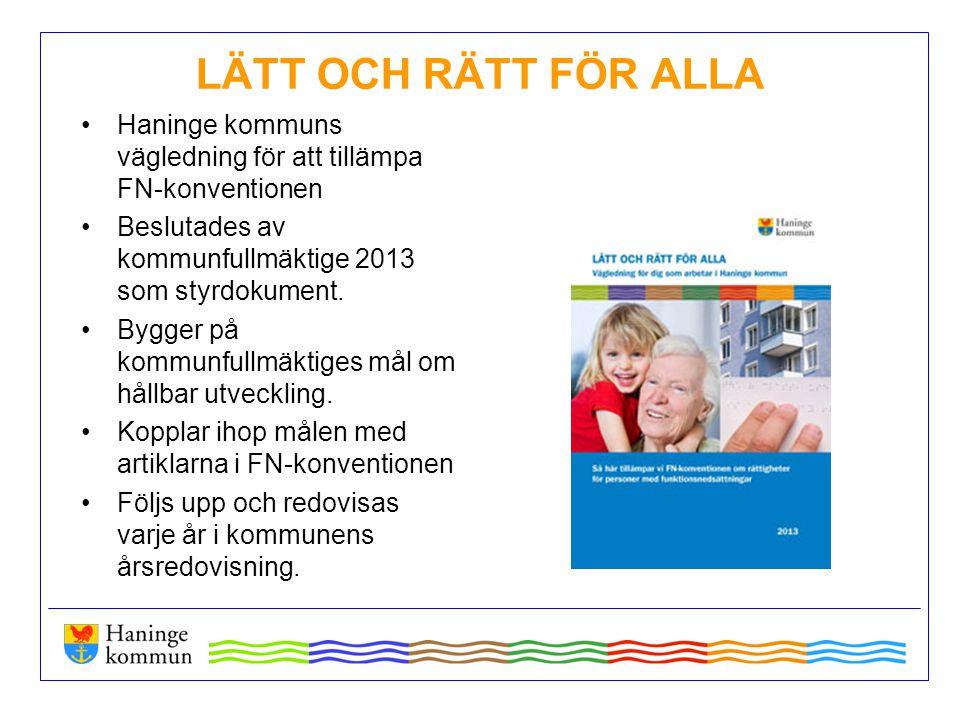LÄTT OCH RÄTT FÖR ALLA Haninge kommuns vägledning för att tillämpa FN-konventionen Beslutades av kommunfullmäktige 2013 som styrdokument. Bygger på ko