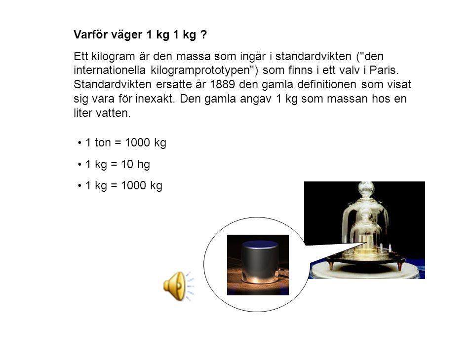 Varför väger 1 kg 1 kg ? Ett kilogram är den massa som ingår i standardvikten (
